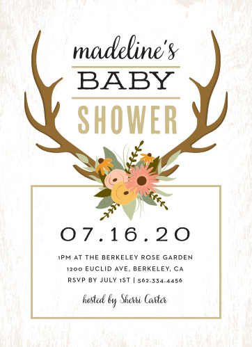 Our Country Antlers Baby Shower Invitations have a country charm to them that your future guests will love.