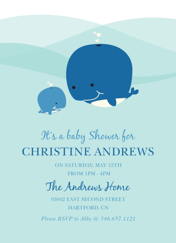 Whale Of A Time Baby Shower Invitations