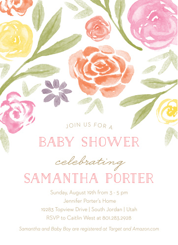 Show your excitement for your newborn is in full bloom with our Colorful Florals Baby Shower Invitations.