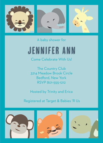 Animal baby shower invitations match your color style free animal frame baby shower invitations filmwisefo