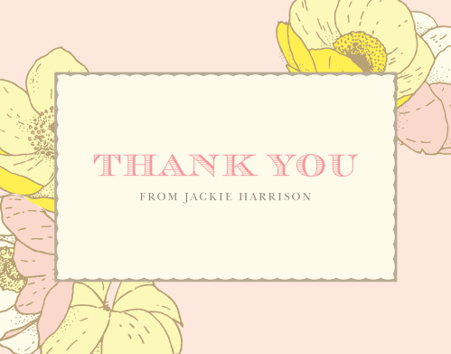 Our Vintage Blooms Baby Shower Thank You Cards feature large pastel flowers atop a light coral background.