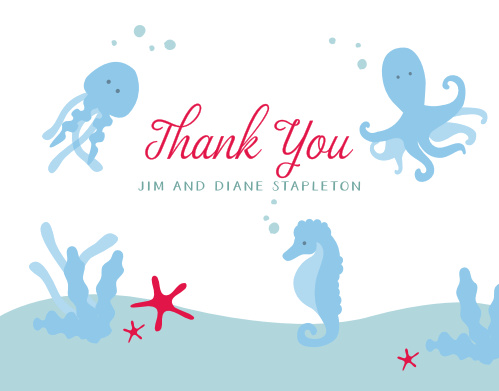 Cute little sea creatures are swimming around your gratitude for our Under the Sea Baby Shower Thank You Cards!