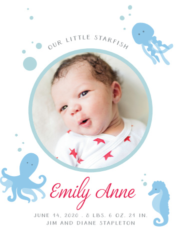 Cute little sea creatures are swimming around a picture of your little one for our Under the Sea Birth Announcements!