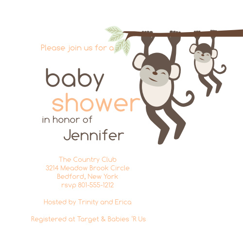 """Invite your friends and family to come and """"hang around"""" for an awesome baby shower! Customize the fonts and colors to match your showers theme."""