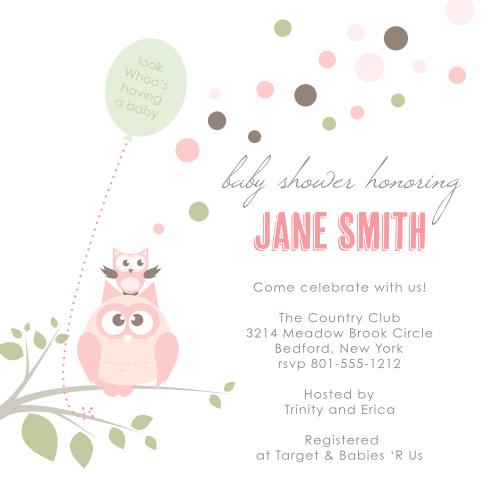 Owl baby shower invitations match your color style free owl balloon baby shower invitations filmwisefo Image collections