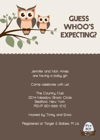 Owl Branch Baby Shower Invitations