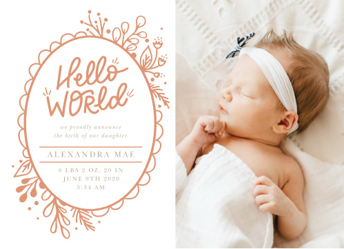 Our Floral Frame Birth Announcements are almost as lively and lovely as your newborn.