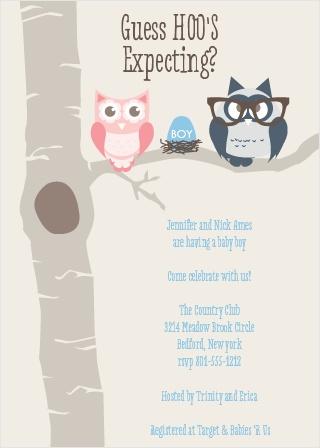 Owl Parents Boy Baby Shower Invitations