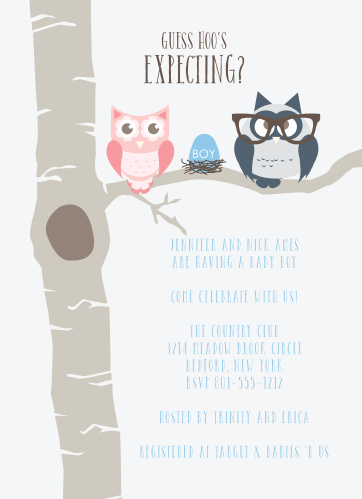 Owl baby shower invitations match your color style free owl parents boy baby shower invitations filmwisefo Image collections
