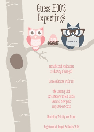 Owl Parents Girl Baby Shower Invitations