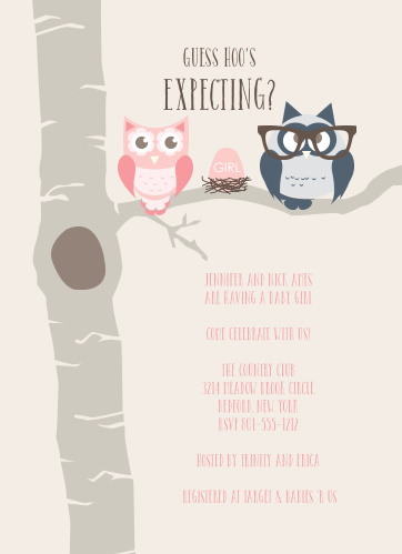 Choose from over 150 color combinations and pick out your favorite fonts to use for your baby shower invitations. These will go perfectly with your owl themed shower.