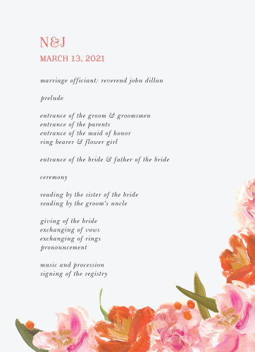 Colorful Oil Paint Wedding Programs guide your guests through each step of your wedding ceremony- while you take each step down the aisle.