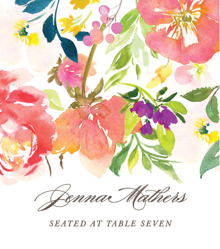 Our beautiful Colorful Garden Place Cards feature brightly colored, tropical flowers that are delicately draped atop your guests' details.