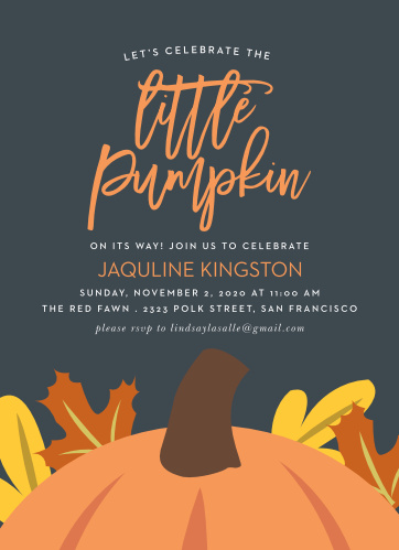 Our Little Pumpkin Baby Shower Invitations are perfect for your autumn baby shower!