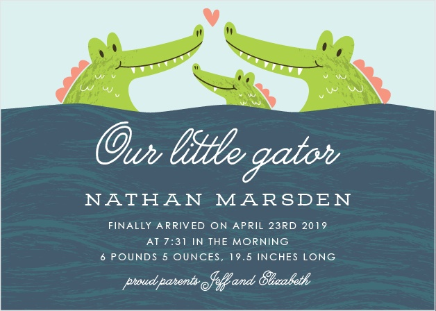 Our Little Alligator Birth Announcements feature a darling illustration of three alligators, a baby and its parents.