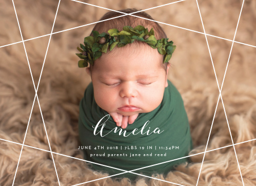 Give your friends and family all the information they want about the newest member of your family with our gorgeous Geometric Gems Birth Announcements. Choose your favorite photo to serve as its background, then write out every little detail about your little one in a swirling script and elegant type.
