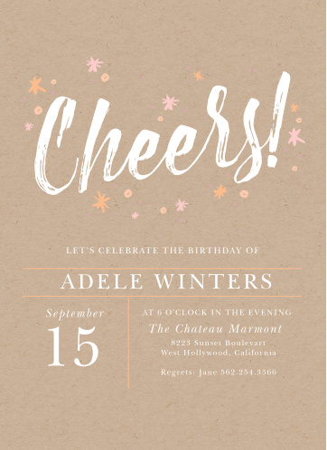 Celebrate the best birthday you'll have this year with our Kraft Cheers Adult Birthday Party Invitations! A smooth calligraphy titles the page in large white loops, surrounding by bursting bits of confetti and fireworks for an explosively bright finish. With the details of your day in an elegant print, these cards are as easy to read as they are to love.