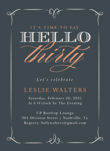Welcome the big 3-0 in style with our Hello Thirty Adult Birthday Party Invitations.