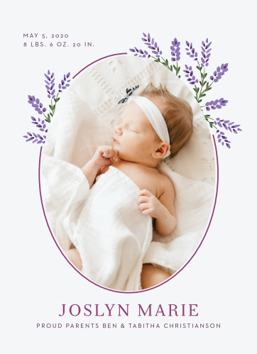 Let your love show with our Lavender Blooms Birth Announcements.