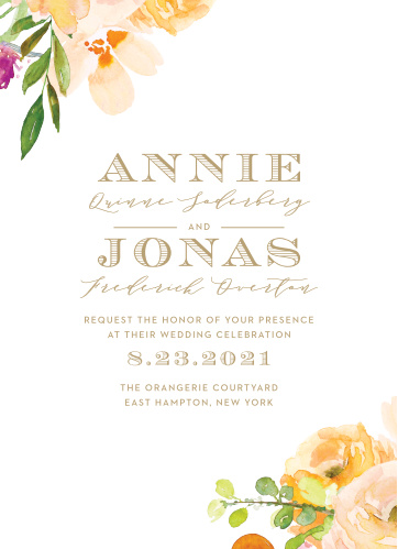 Our Peachy Flowers Wedding Invitations bring a summer warmth complimented with a vintage style.