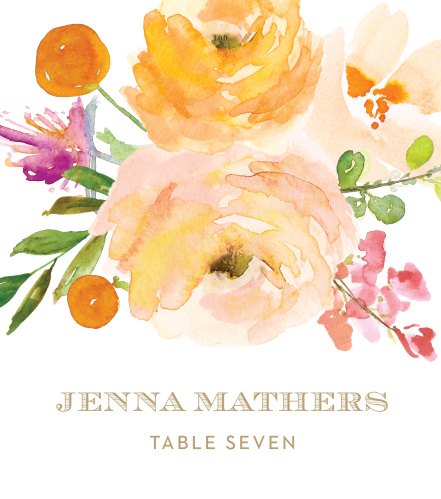 Our Peachy Flowers Place Cards bring a summer warmth complimented with a vintage style.