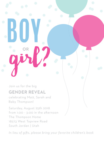 Gender reveal baby shower invitations match your color style free reveal balloons baby shower invitations filmwisefo