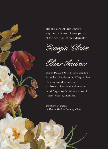 Enjoy the company of your friends and family when you use our Romantic Flowers Wedding Invitations to invite them.