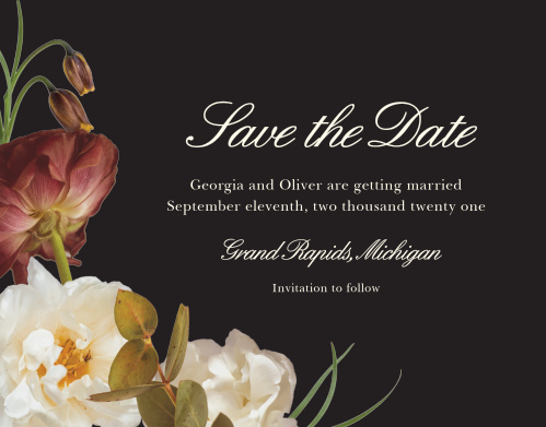 Make a spot on everyone's calendar with our Romantic Flowers Wedding Save the Date Cards.