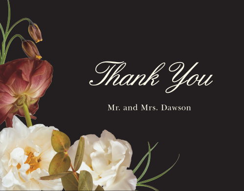 Thank all your supporters with our Romantic Flowers Wedding Thank You Cards.