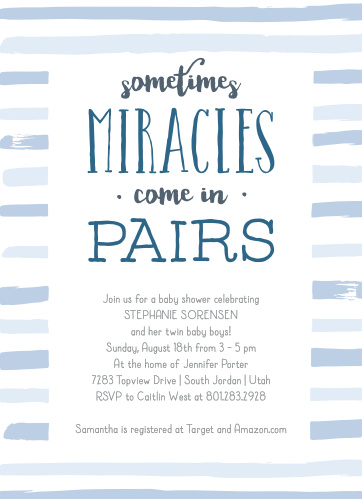 Having twins? Our Miracle Pair Baby Shower Invitations bring twice the fun!