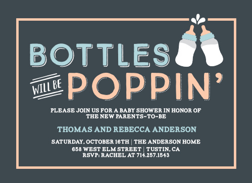 "Two baby bottles join for a ""cheers!"" on our Poppin' Bottles Baby Shower Invitations!"