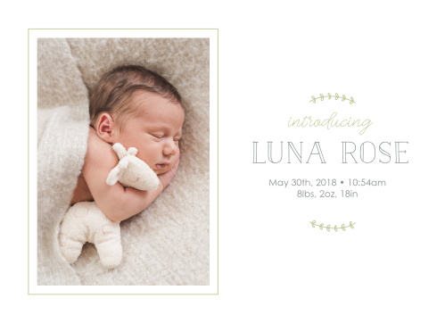 Our Little Leaves Birth Announcements have the down to earth vibe you are looking for.