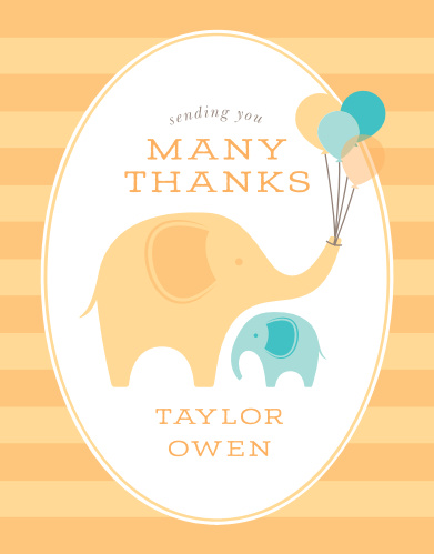 Our Little Elephant Baby Shower Thank You Cards feature an adorable duo of elephants- the adult in orange and the child in teal- as their primary design, complete with an orange striped background and a playful print. With these stunningly simple cards, you can turn your gratitude into something truly tangible.