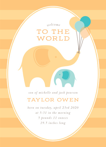 Announce the arrival of your lovely little one with our Little Elephant Birth Announcements. The newest addition to your family is represented by an adorable teal elephant, while an adult elephant holds celebratory balloons just overhead. With a playful print to list all the details your loved ones need to know, these gorgeous cards are a wonderful option for your little one's big arrival.