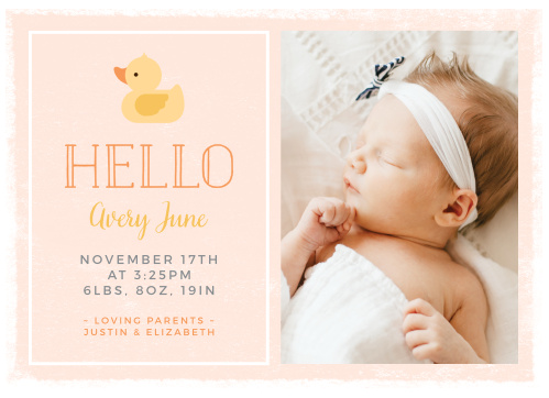 Make sure your friends and family have all of your newborn's details with our Little Duck Birth Announcements.