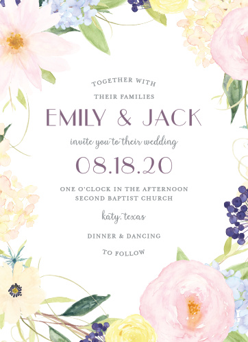 Delite your guests with the subtle beauty of our Spring Watercolors Wedding Invitations.
