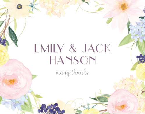 Thank your guests with the subtle beauty of our Spring Watercolors Wedding Thank You Cards.