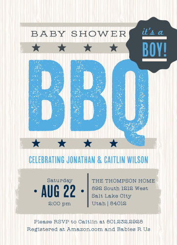 Our Baby BBQ Baby Shower Invitations are perfect for your big gender reveal barbecue!