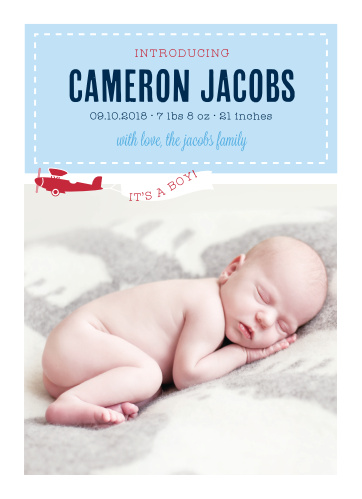Our Airplane Banner Birth Announcements feature darling illustrations of a vintage, cardinal red plane flying across a photo of your little one, and towing a banner that reveals the gender.