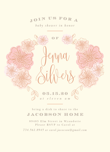 Our Shower of Flowers Baby Shower Invitations are both warm and serene.