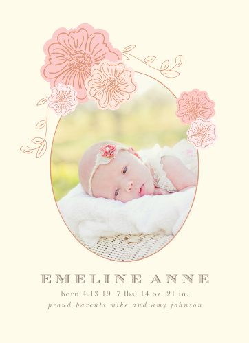 Our Shower of Flowers Birth Announcements are both warm and serene.