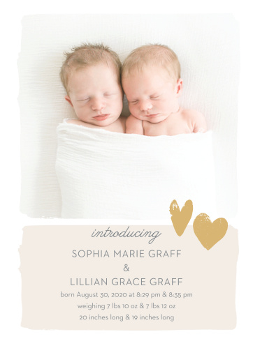The Twice the Love Birth Announcements display your newborns so they can share the spotlight.