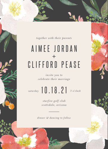 Our Spring Rose Wedding Invitations have a stormy grey border that is contrasted with brightly colored hibiscus flowers.
