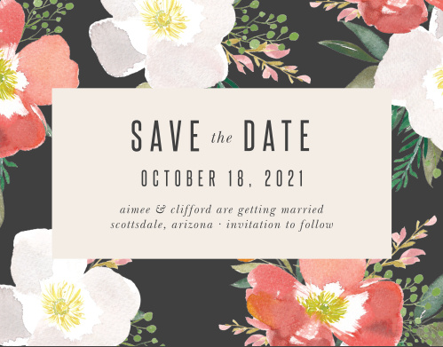 Our Spring Rose Save-the-Date Cards have a stormy grey border that is contrasted with brightly colored hibiscus flowers.