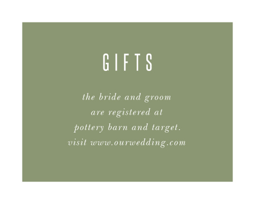 Our Spring Rose Registry Cards have a bright white border that frames your registry details, atop a guacamole green backdrop.