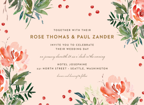 Our Winter Berries Wedding Invitations offer a lovely combination of vintage florals and modern typefaces- the perfect assortment for your perfect day.