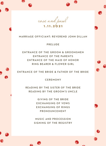 winter wedding programs match your color style free
