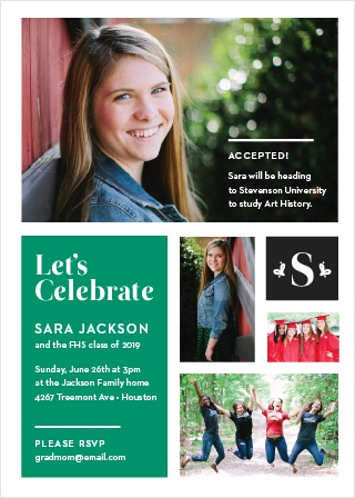 Our simple Color Blocked Graduation Invitations are the perfect fit for your upcoming graduation.