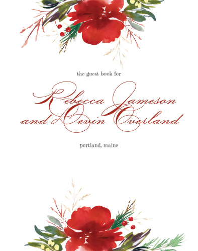 Memorialize your big day with little messages from your friends and family. Stylized with the same bright red colors and elegant typefaces as the rest of the Christmas Pine wedding suite, and gently framed by a duo of florals along the top and bottom borders, this guest book offers the perfect mixture of modern simplicity, classic elegance, and roomy utility.