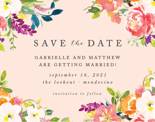 Make a spot on everyone's calendar with our Spring Peach Save the Date Cards.